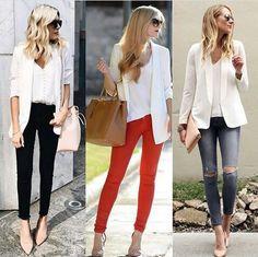 A versatilidade do blazer branco é uma peça que pode ser bem aproveitada♥