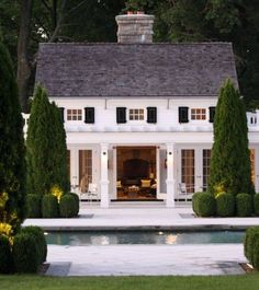 pool house house design home design design Style At Home, Future House, My House, Architecture Design, Beautiful Architecture, Pool House Designs, Black Shutters, White Houses, Pool Houses