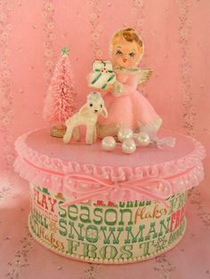 Pink Christmas Angel Gift Box Set....Handmade and by KittyKatDance
