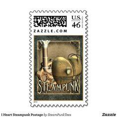 I Heart Steampunk Postage