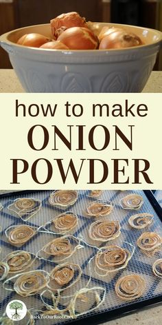 EASY HOMEMADE ONION POWDER: I HATE to waste good food. Especially after I've gone to the trouble of buying organic. Now, there's no reason to throw out those onions! Make your own onion powder before they go bad. Food from recipes Homemade Spices, Homemade Seasonings, Homemade Vanilla, Homemade Food, Homemade Cake Mixes, Homemade Spice Blends, Do It Yourself Food, Good Food, Yummy Food