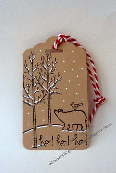 InvisiblePinkCards: Christmas tag using Stampin' Up White Christmas and Scalloped Tag Topper Punch More