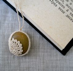 Crochet Stone Necklace - Crochet Jewelry - Lace Stone Necklace - Beach Stone Lacy Pendant - Beach Wedding Necklace - All Natural Necklace. $30.00, via Etsy.
