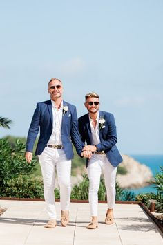 Check out this beautiful destination Wedding in Barcelona, Spain at Masia Casa Del Mar Mens Summer Wedding Outfits, Mens Casual Wedding Attire, Groomsmen Attire Beach Wedding, Casual Groom Attire, Casual Grooms, Blue Suit Wedding, Groom And Groomsmen Attire, Groom Suits, Dressy Casual Summer