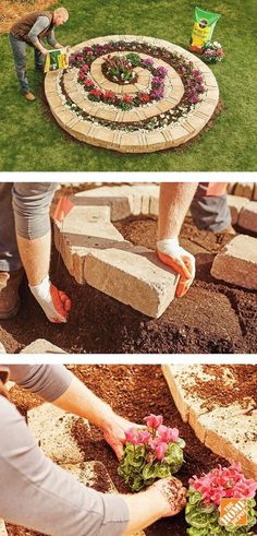DIY Spiral Garden - DIY Gardening Here is how you can easily create a spiral shaped garden the easy way. You will need enough cement blocks to build the spiral including thinner blocks to fill gaps between the larger blocks and a good soil mixture...