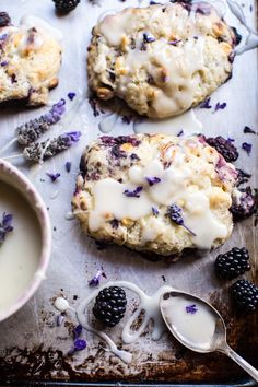 Blackberry lavender white chocolate scones from Half-Baked Harvest Delicious Desserts, Yummy Food, Tasty, Vegan Desserts, Lavender Recipes, Breakfast Recipes, Dessert Recipes, Think Food, Gourmet