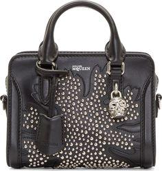 Alexander McQueen - Black Studded Mini Padlock Bag $2145.00