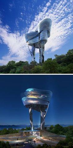 Daewon Park Observatory (Korea) - Korean architect Changki Yun (Kyungam Architects Associates) designed this observation tower for the city of Seongnam in Korea. -  http://www.oddee.com/item_98495.aspx#dKsifIlOCiAy21l7.99