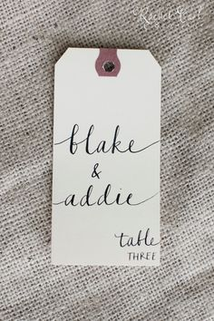 Table Place Cards    Shabby Chic Wedding, Manilla Vintage Tags with Lowercase Font. $1.25, via Etsy... love the font!