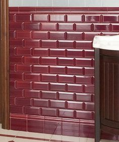 Hand decorated in Stoke-on-Trent, the Minton Hollins range of tiles embodies the true spirit of Victorian design in both style and colour. This rectangular bevelled tile in burgundy is made from ceramic and features a luxurious gloss finish. Decor, Bevelled Tiles, Bathroom Design Small, Art Deco Bathroom, Guest Bathroom Decor, Victorian Design, Burgundy Bathroom, Bathroom Design, Bevel
