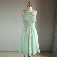 Wedding dress , HALTER chiffon party dress, bridesmaid dress, formal dress in light green mint (B019) on Etsy, $115.04 CAD