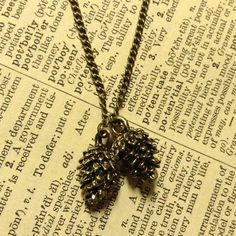 HANDMADE Pine-cones Charm Necklace on Brass Chain ($15)