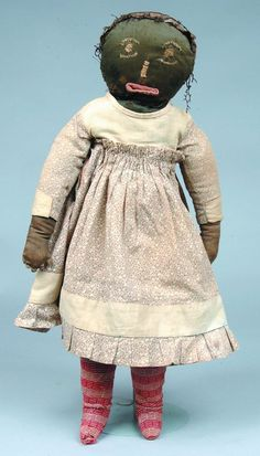 Very Good Folky Black Americana Cloth Doll