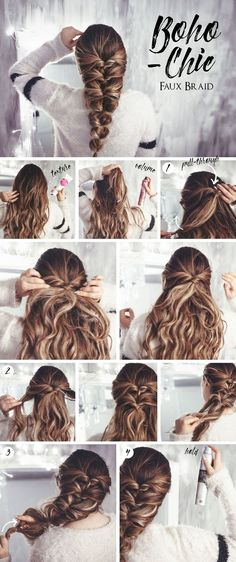 with extensions Hair tutorial: Bohemian Chic Faux Braid Tutorial de cabelo: Bohemian Chic Faux Braid . Medium Length Hairstyles, Faux Braids, Braids Easy, Curly Hair Braids, Long Hair Hairdos, Messy Braids, Braids For Long Hair, Simple Braids, Lazy Hair Updo