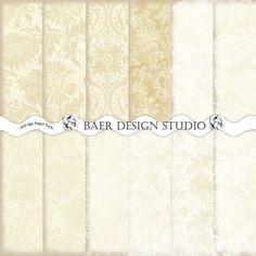 IVORY, GOLD and Tan DAMASK Digital  Background Paper Wedding/Christmas/Showers for commercial personal use