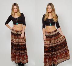 519b2317f4c Vintage 90s ETHNIC Print Maxi Skirt INDIAN Crinkle Skirt Printed Hippie  Boho Festival Skirt Broom Skirt