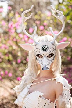 Made to Order:  Greek Goddess of the Moon, Artemis Deer Leather Mask. $200.00, via Etsy.