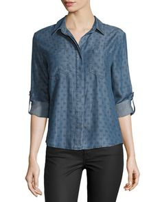 Velvet Heart Riley Tab-Sleeve Chambray Blouse, Vintage Quatrefoil New offer @@@ Price :$98 Price Sale $69