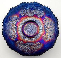 Orange Tree by Fenton Splendid Blue Carnival Glass 8 Ice Cream Shape Bowl   eBay