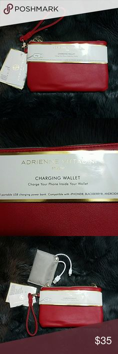 Phone Charging Wristlet Red wristlet with main pocket and sections for cards. NEVER get stranded without power again! Now you can charge your phone inside your wallet! At last, one portable power source to charge all your devices at work, at the gym, out to dinner, while shopping, even on vacation. Each wallet contains a removable, reusable and completely portable USB charging power bank. Charger is compatible with iPhone, Blackberry, Android, Galaxy and Smartphone products! Adrienne…