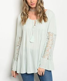 This Sage Lace-Sleeve Tassel-Tie Top is perfect! #zulilyfinds
