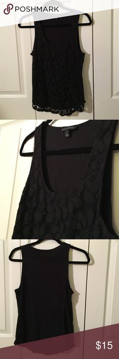 Lace Front Black Tank The front is black lace and the back is solid black - Banana Republic - size S - professional meets casual Banana Republic Tops Tank Tops