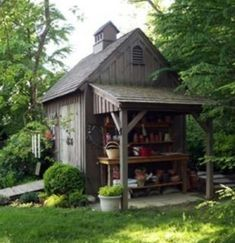 Nice shed with attached potting bench with cover. Also note the double doors and ramp. shed design shed diy shed ideas shed organization shed plans Outdoor Sheds, Outdoor Spaces, Outdoor Living, Indoor Outdoor, Shed Design, Garden Design, Roof Design, Design Design, Landscape Design