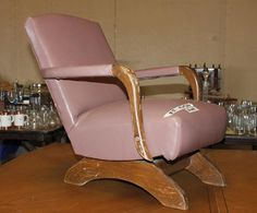 Antique Child Size Leather Upholstered Rocking Chair.. My Grandparents Had  The Same One In
