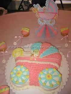 simple baby shower cakes for girls | Coolest Baby Shower Cake Idea for a Bassinet and Stroller