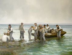 "Martin Driscoll, ""Aran Islanders Unloading Boats"""