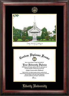 Liberty University Gold Embossed Diploma Frame With Campus Images Lithograph
