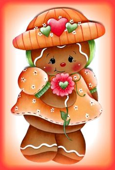 *TOLE-TALLY-CUTE! ~ LAMINATED FRIDGE MAGNET Gingerbread Girl with Flower