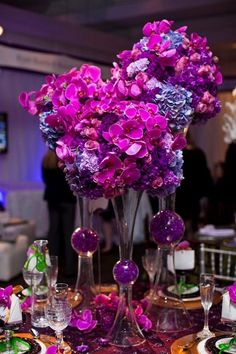 Hydrangea & orchid wedding centerpieces / http://www.deerpearlflowers.com/fuchsia-hot-pink-wedding-color-ideas/
