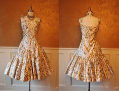 1950s Dress - Vintage 50s Dress - Golden Silk Bombshell Atomic Mermaid Dress M L - Roses de la Mer - The Euro Collection on Etsy, $198.00