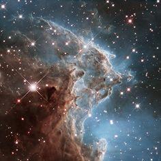 Un piccolo pezzo della Testa di Scimmia  NGC 2174 è una nebulosa a emissione nella costellazione di Orione, situata a circa 6.400 anni luce dalla Terra. In occasione del suo 24° anno nello spazio, il telescopio spaziale Hubble ha prodotto una nuova magnifica vista di una piccola regione della nebulosa, caratterizzata da una complessa rete di filamenti gassosi. Nodi e filamenti sono in via di dispersione, sotto l&#8217