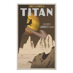 Rock Climbing on Titan, a moon of Saturn Poster