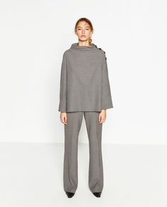 CHECK FUNNEL COLLAR TOP - View all-TOPS-WOMAN | ZARA Malaysia