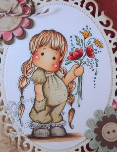 Tilda with Little Pocket.  Step by Step Instructions for Copic Coloring Card Kit.