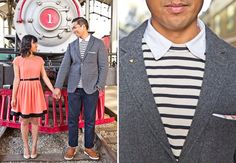 California Love Engagement Photos on a Train
