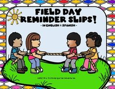 Field Day Reminder slips in English and Spanish Field Day, Classroom Organization, Lesson Plans, Kindergarten, Spanish, Parents, Slip On, English, Activities
