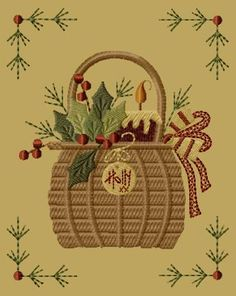 PK065 Holly Basket Version 1 - 5x7 - $8.00 : Primitive Keepers, Prim Machine Embroidery Designs