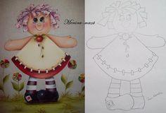BELA PINTURAS E ARTESANATOS: RISCOS MENINAS FRUTAS Doll Painting, Painting For Kids, Fabric Painting, Painting On Wood, Painting & Drawing, Pill Bottle Crafts, Country Paintings, Art Template, Country Crafts