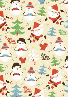 Pattern, Illustration, Surface design, Print, Christmas, Santa, Snowman    www.emilymuschinske.com Emily Muschinske