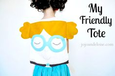 My Friendly Tote, backpack, childrens, boutique, glasses, felt, linen