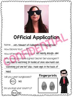 Secret Service Job Application. My kids will love this!! This post is full of fun President Day activities!