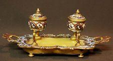 1830 superbe encrier bronze jade émail cloisonné émaux 700g21cm 2godets inkwell