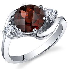 3 Stone Design 225 carats Garnet Ring in Sterling Silver Rhodium Nickel Finish Size 8 * Click on the image for additional details.Note:It is affiliate link to Amazon.
