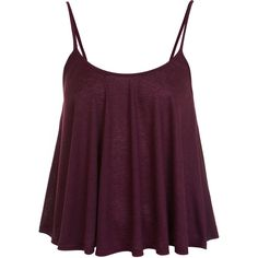 Miss Selfridge Salt and Pepper Cami Top (£9.65) ❤ liked on Polyvore featuring tops, shirts, tank tops, blusas, burgundy, camisole tops, camisole shirt, cami top, burgundy shirt and purple tank