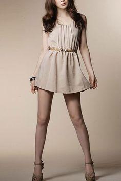 Elegant Ruched Detail Elastic Waistline Sleeveless Dress with Slim Belt $28 .  http://www.oasap.com/dresses/10353-elegant-ruched-detail-elastic-waistline-sleeveless-dress-with-slim-belt.html/?fuid=20016