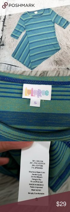 LuLaRoe Julia Blue Yellow Striped Dress size S LuLaRoe Julia Blue Yellow Striped Dress size S in excellent used condition. Mostly blue with hints of yellow. Comfy and cute!  ***Please note that I am not a Consultant.***  Please let me know if you have any questions. Happy Poshing! LuLaRoe Dresses Midi